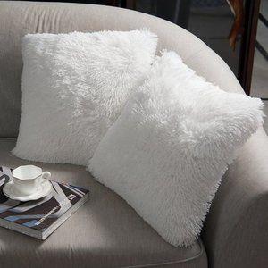 2 Pcs White Luxury Soft Faux Fur Throw PillowCases
